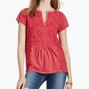 Lucky Brand embroidered red peasant tee size m